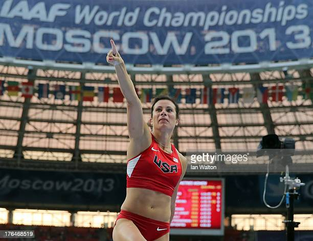 Jennifer Suhr of the United States celebrates a jump in the Women's pole vault final during Day Four of the 14th IAAF World Athletics Championships...