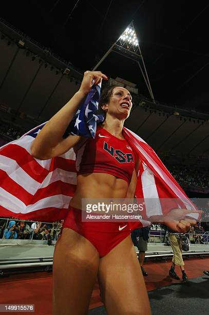 Jennifer Suhr of the United States celebrates after winning the gold medal in the Women's Pole Vault final on Day 10 of the London 2012 Olympic Games...