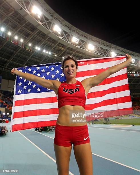 Jennifer Suhr of the United States celebrates winning silver in the Women's pole vault final during Day Four of the 14th IAAF World Athletics...