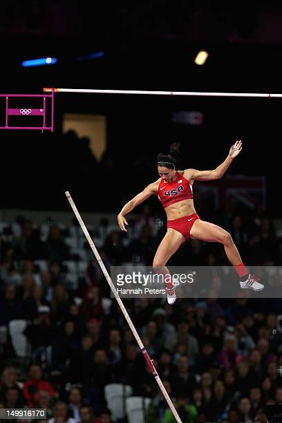Jennifer Suhr of the United States competes in the Women's Pole Vault final on Day 10 of the London 2012 Olympic Games at the Olympic Stadium on...