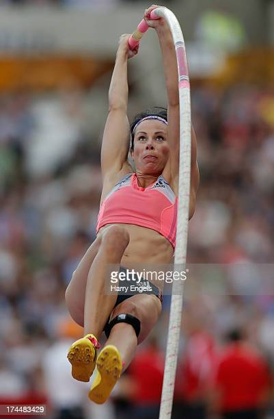 Jennifer Suhr of the United States competes in the Women's Pole Vault on day one during the Sainsbury's Anniversary Games IAAF Diamond League 2013 at...