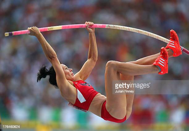 Jennifer Suhr of the United States competes in the Women's pole vault final during Day Four of the 14th IAAF World Athletics Championships Moscow...