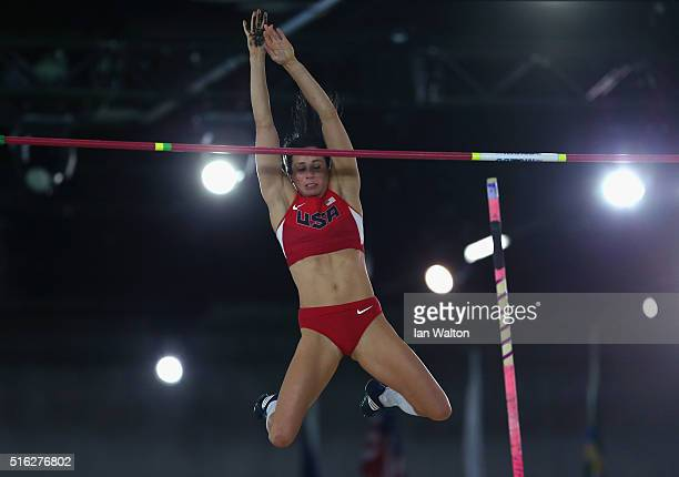 Jennifer Suhr of the United States competes in the Women's Pole Vault Final during day one of the IAAF World Indoor Championships at Oregon...