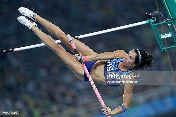 Jennifer Suhr of the United States competes in the Women's Pole Vault Final on Day 14 of the Rio 2016 Olympic Games at the Olympic Stadium on August...