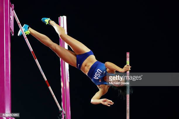 Jennifer Suhr of the United States competes in the Women's Pole Vault qualification during day one of the 16th IAAF World Athletics Championships...