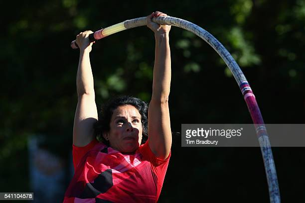 Jennifer Suhr of the United States warms up for the Women's Pole Vault during Day 2 of the Adidas Boost Boston Games on June 18 2016 in Boston...
