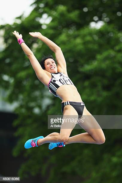 Jennifer Suhr of the USA competes in the pole vault during the Adidas Grand Prix at Icahn Stadium on Randalls Island on June 14 2014 in New York City