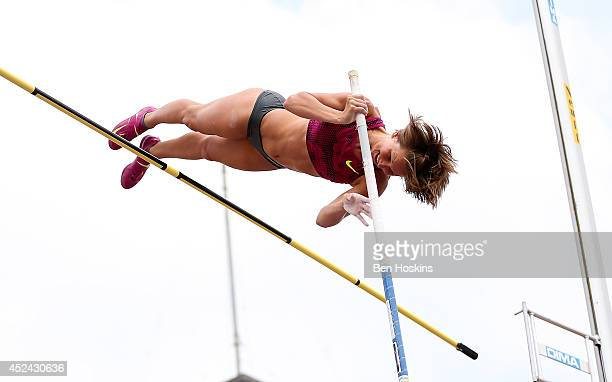 Jennifer Suhr of The USA in action during the women's pole vault at the Sainsbury's Anniversary Games at Horse Guards Parade on July 20 2014 in...