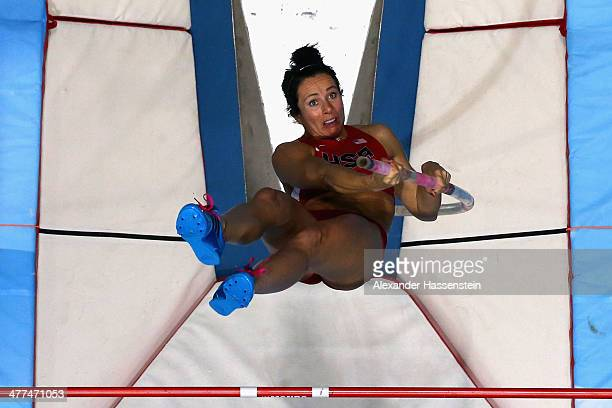 Jennifer Suhr of USA competes during the Women's Pole Vault final during day three of the IAAF World Indoor Championships at Ergo Arena on March 9...