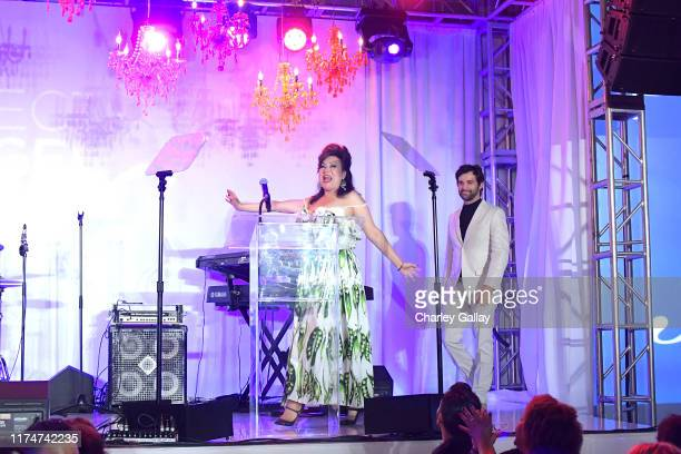 Jennifer Tilly and Juan Pablo Di Pace speak onstage during Project Angel Food's 29th Annual Angel Awards on September 14 2019 in Hollywood California