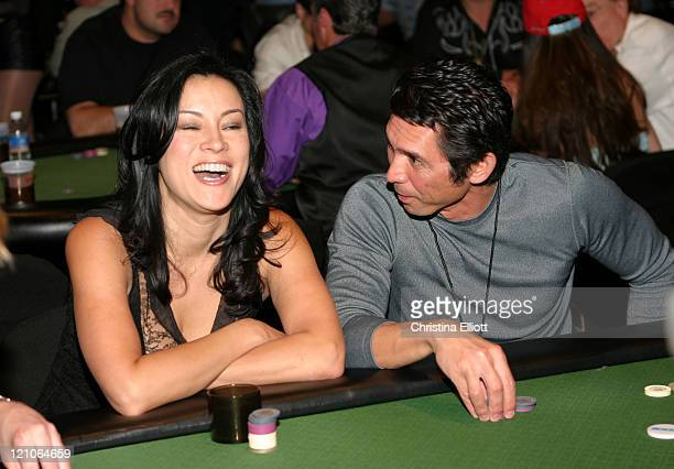 Jennifer Tilly and Lou Diamond Phillips during Celebrity Pro-Am Poker Tournament at the Hard Rock Hotel and Casino at Hard Rock Hotel and Casino in...