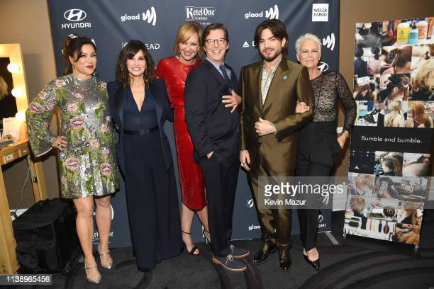 Jennifer Tilly Gina Gershon Allison Janney Sean Hayes Adam Lambert and Jamie Lee Curtis attend the 30th Annual GLAAD Media Awards Los Angeles at The...