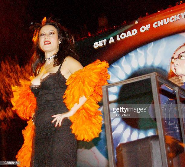 "Jennifer Tilly on the ""Seed of Chucky"" float during New York's 31st Annual Village Halloween Parade at 6th Avenue, Greenwich Village in New York..."