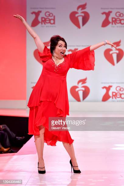Jennifer Tilly walks the runway at The American Heart Association's Go Red for Women Red Dress Collection 2020 at Hammerstein Ballroom on February 05...