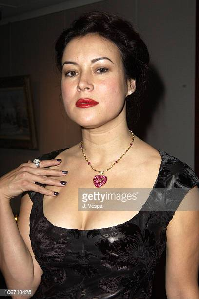 Jennifer Tilly with a ruby and gold pendant necklace by BVLGARI that she purchased in the auction