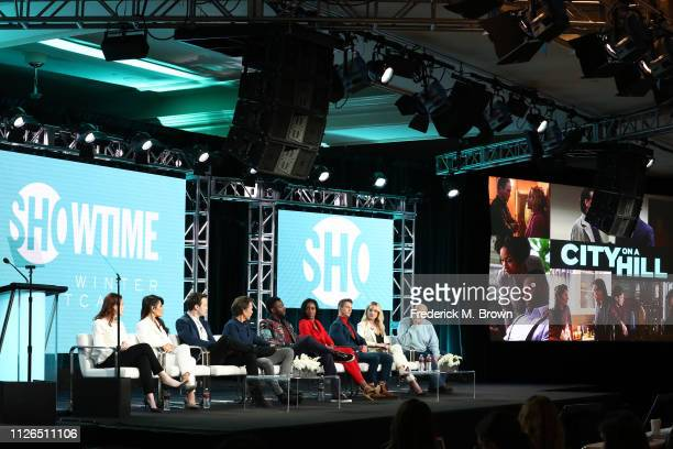 Jennifer Todd Sarah Shahi Mark O'Brien Kevin Bacon Aldis Hodge Lauren E Banks Jonathan Tucker Amanda Clayton and Tom Fontana of the television show...