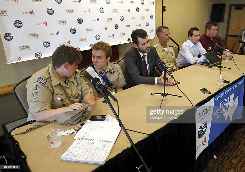 Jennifer Tyrrell (L) of Bridgeport, Ohio, and as Pascal Tessier, 16, of Kensington, Maryland, talk at a news conference held at the Great Wolf Lodge May 23, 2013 in Grapevine, Texas. The Boy Scouts of America today ended its policy of prohibiting openly gay youths from participating in Scout activities, while leaving intact its ban on gay adults and leaders. Jennifer was kicked out of the scouts as a Cub Scout den leader in 2012 for being openly gay. Pascal, who was told by Scout leaders that because he was openly gay, he could not attain the Eagle Scout rank, but was permitted to remain a Scout, will now be able to resume his pursuit of the Eagle Scout rank.