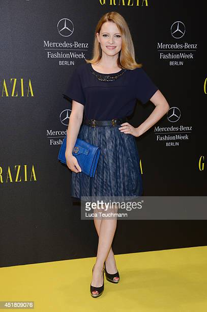 Jennifer Ulrich arrives for the Opening Night by Grazia fashion show during the MercedesBenz Fashion Week Spring/Summer 2015 at Erika Hess Eisstadion...