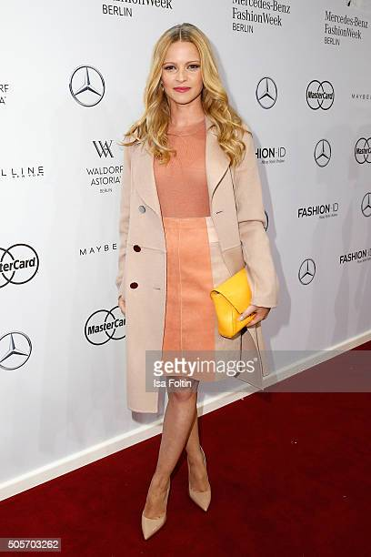 Jennifer Ulrich attends the Marc Cain show during the MercedesBenz Fashion Week Berlin Autumn/Winter 2016 at Brandenburg Gate on January 19 2016 in...