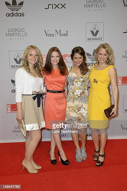 Jennifer Ulrich, Cristina do Rego and Nova Meierhenrich attend the new faces award Film 2012 at Tempodrom on April 26, 2012 in Berlin, Germany.