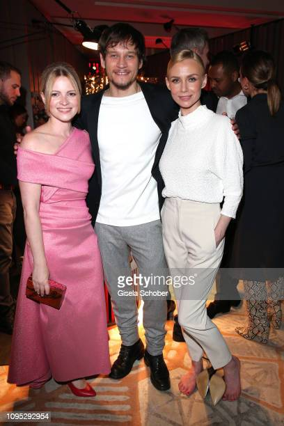 Jennifer Ulrich Vinzenz Kiefer and his wife Masha Tokareva attend the Berlinale Opening Night by GALA UFA Fiction at Das Stue on February 07 2019 in...