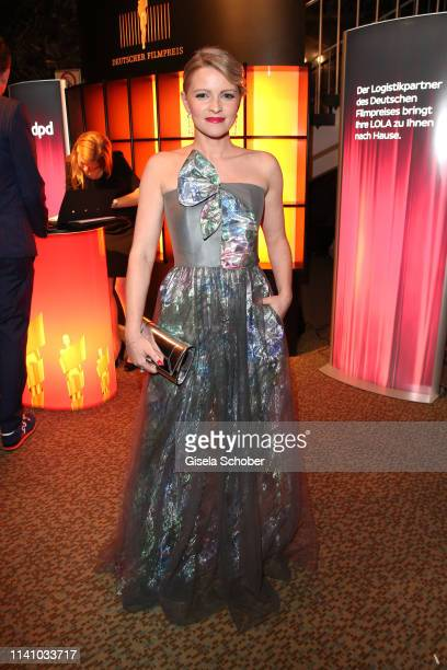 Jennifer Ulrich, wearing a dress by Giorgio Armani, attends the Lola - German Film Award party at Palais am Funkturm on May 3, 2019 in Berlin,...