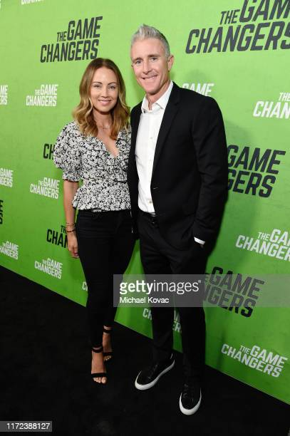Jennifer Utley and Chase Utley attend the Los Angeles Premiere of The Game Changers Documentary at ArcLight Hollywood on September 04 2019 in...