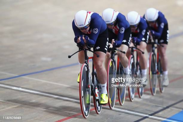 Jennifer Valente Christina Birch Kimberly Geist and Emma White of the USA compete in the Women's team pursuit qualifying on day one of the UCI Track...