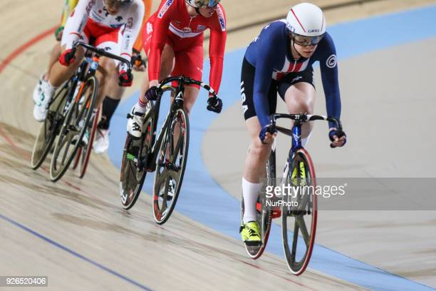Jennifer Valente competes during the women's omnium during the UCI Track Cycling World Championships in Apeldoorn on March 2 2018
