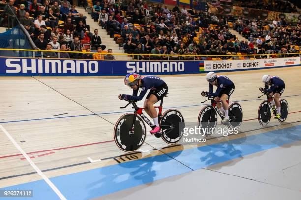 Jennifer Valente Kelly Catlin Chloe Dygert and Kimberly Geist of USA competes in the Women's Team Pursuit final during UCI Track Cycling World...