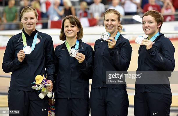 Jennifer Valente Ruth Winder Sarah Hammer and Kelly Catlin of the United States of America pose with their silver medals in the women's team pursuit...