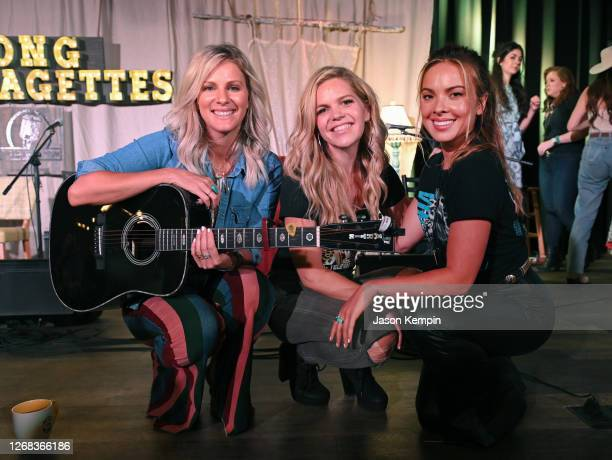 Jennifer Wayne, Natalie Stovall and Naomi Cooke of Runaway June pose onstage at The Listening Room Cafe on August 24, 2020 in Nashville, Tennessee.