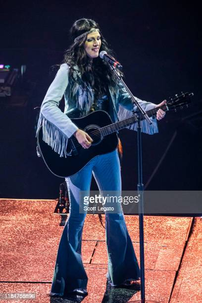 Jennifer Wayne of Runaway June performs dressed up for Halloween during the Cry Pretty Tour 360 at Little Caesars Arena on October 31 2019 in Detroit...
