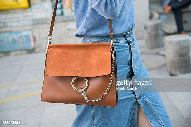 Jennifer wears a Chloe bag and a Vintage sweater and skirt day 4 of Paris Haute Couture Fashion Week Autumn/Winter 2016 on July 6 2016 in Paris France