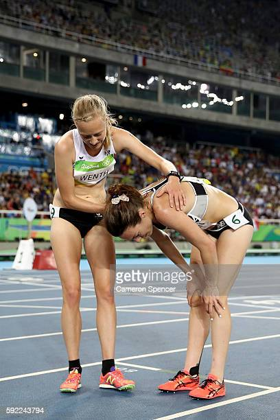 Jennifer Wenth of Austria and Nikki Hamblin of New Zealand react after the Women's 5000m Final and setting a new Olympic record of 142617 on Day 14...