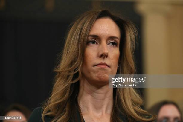 Jennifer Williams adviser to Vice President Mike Pence for European and Russian affairs arrives to testify before the House Intelligence Committee in...