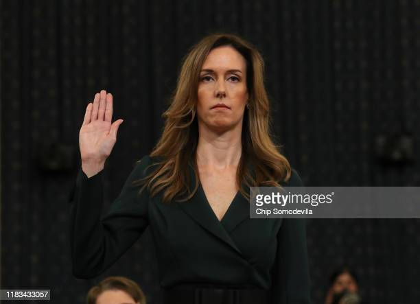 Jennifer Williams adviser to Vice President Mike Pence for European and Russian affairs is sworn in to testify before the House Intelligence...