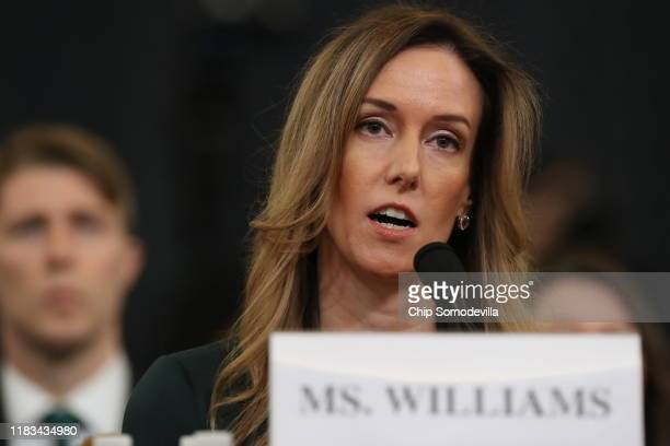 Jennifer Williams adviser to Vice President Mike Pence for European and Russian affairs reads an opening statement before the House Intelligence...