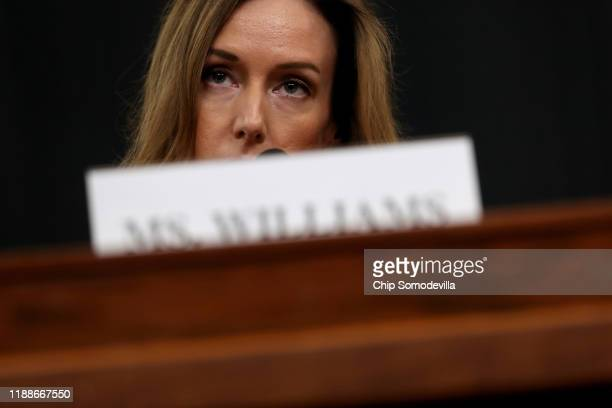 Jennifer Williams adviser to Vice President Mike Pence for European and Russian affairs testifies before the House Intelligence Committee in the...