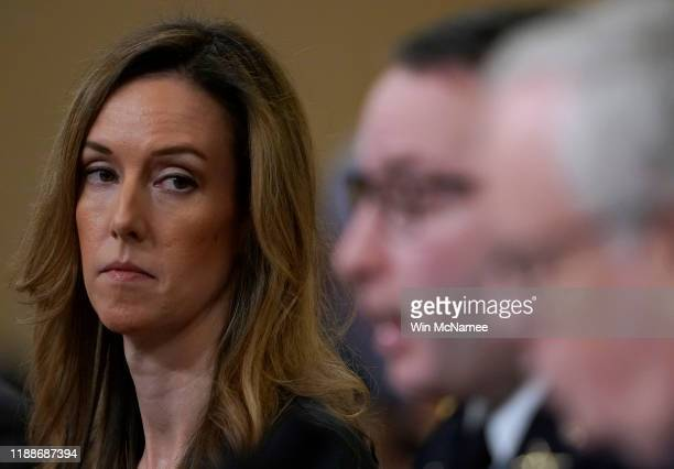 Jennifer Williams adviser to Vice President Mike Pence for European and Russian affairs listens as Lt Col Alexander Vindman National Security Council...
