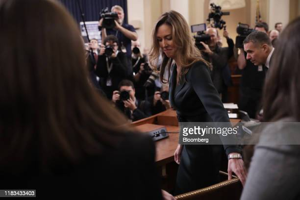 Jennifer Williams aide to Vice President Mike Pence arrives for a House Intelligence Committee impeachment inquiry hearing in Washington DC US on...