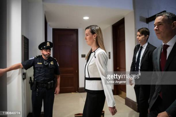 Jennifer Williams an aide to Vice President Mike Pence arrives for a deposition with the House Intelligence Foreign Affairs and Oversight committees...