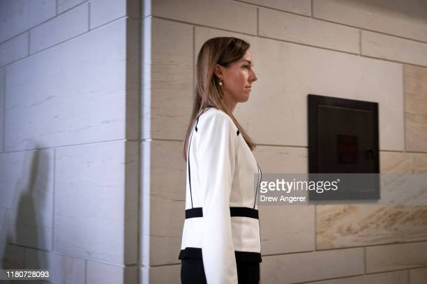 Jennifer Williams an aide to Vice President Mike Pence exits a deposition with the House Intelligence Foreign Affairs and Oversight committees at the...