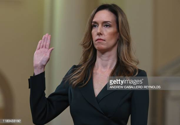 Jennifer Williams an aide to Vice President Mike Pence takes the oath before she testifies before the House Intelligence Committee on Capitol Hill in...