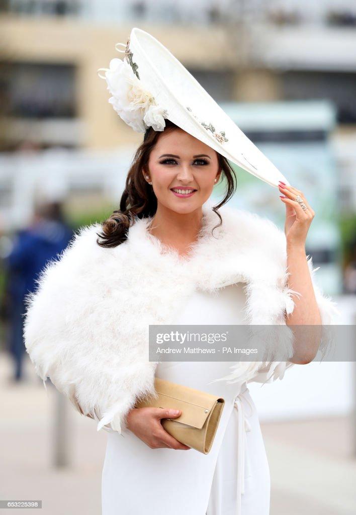Jennifer Wrynne, 27 from Leitrim in Ireland attends Champion Day of the 2017 Cheltenham Festival at Cheltenham Racecourse.