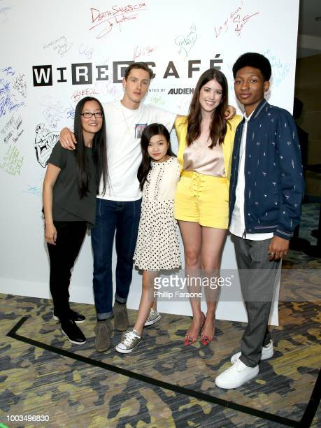 Jennifer Yuh Nelson Harris Dickinson Miya Cech Alexandra Bracken and Skylan Brooks of 'The Darkest Minds' attends the 2018 WIRED Cafe at Comic Con...