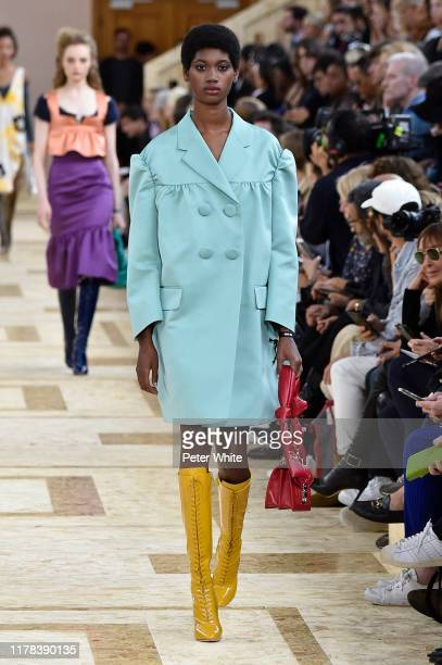 Jenniffer Mieses walks the runway during the Miu Miu Womenswear Spring/Summer 2020 show as part of Paris Fashion Week on October 01, 2019 in Paris,...