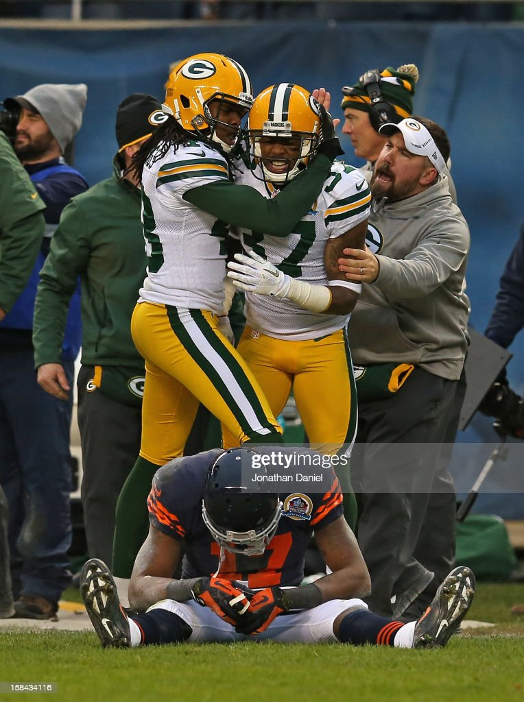 M.D. Jennings #43 (L) and Sam Shields #37 of the Green Bay Packers celebrate after breaking up a pass intended for Alshon Jeffery #17 of the Chicago Bears at Soldier Field on December 16, 2012 in Chicago, Illinois. The Packers defeated the Bears 21-13.