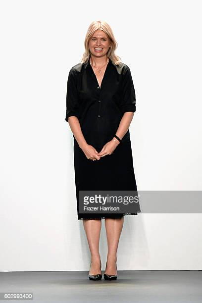 Jennny Packham walks the runway at the Jenny Packham fashion show during New York Fashion Week The Shows at The Dock Skylight at Moynihan Station on...