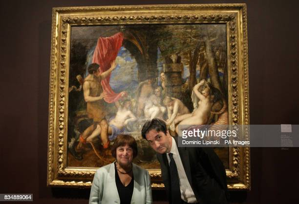 Jenny Abramsky Chair of the National Heritage Memorial Fund and Nicholas Penny Director of the National Gallery stand infront of Titian's 'Diana and...